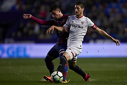 April 27, 2018 - Valencia, Valencia, Spain - Escudero (R) of Sevilla FC competes for the ball with Bardhi of Levante UD during the La Liga game between Levante UD and Sevilla FC at Ciutat de Valencia on April 27, 2018 in Valencia, Spain  (Credit Image: © David Aliaga/NurPhoto via ZUMA Press)