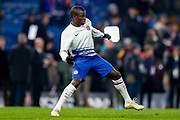 Chelsea midfielder N'golo Kanté (7) warms up during the Premier League match between Chelsea and Arsenal at Stamford Bridge, London, England on 21 January 2020.