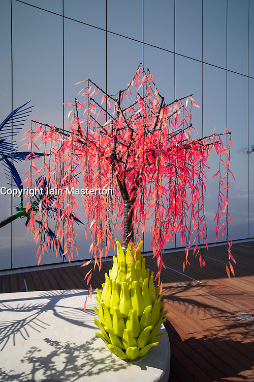 Contrary Life: A Botanical Light Garden Devoted to Trees is an immersive installation specially created for the site of Jameel Arts Centre by Kuwait-based artists Alia Farid and Aseel AlYaqoub , Dubai, United Arab Emirates