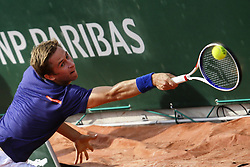 May 23, 2019 - Paris, France - Kimmer Coppejans of Belgium reacts during a match against Manuel Guinard of France in the  third round qualifications of Roland Garros, in Paris, France, on May 22, 2019. (Credit Image: © Ibrahim Ezzat/NurPhoto via ZUMA Press)