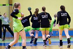 Players of RK Zagorje during handball match between ZRK Mlinotest Ajdovscina and RK Zagorje in 17th Round of Slovenian Women Handball League 2015/16 on April 6, 2016 in Sports hall Police Ajdovscina, Ajdovscina, Slovenia. Photo By Urban Urbanc / Sportida