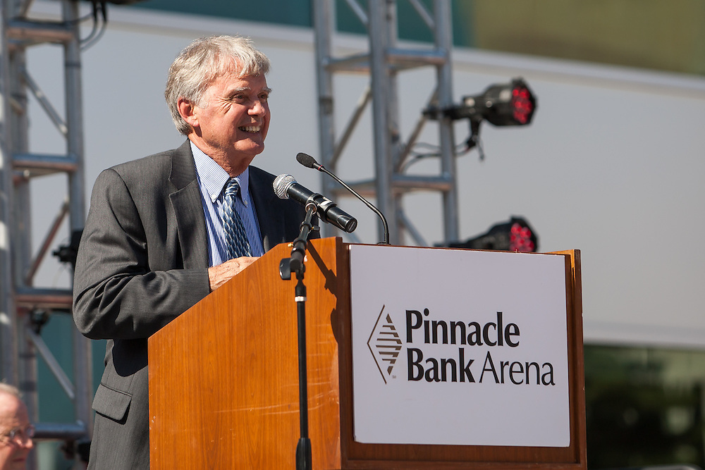 August 29, 2013: Mayor Chris Beutler speaking at the Grand Opening for the Pinnacle Bank Arena in Lincoln, Nebraska.