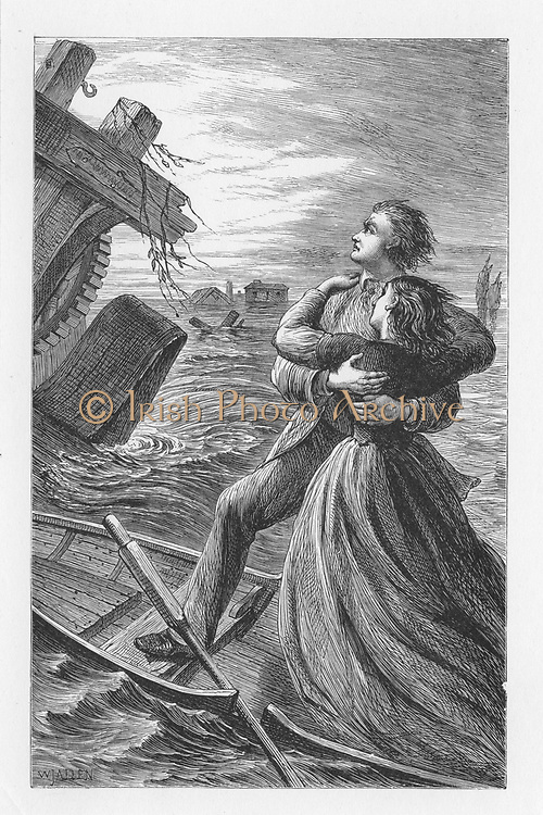 Tom and Maggie Tulliver being run down by machinery from Dolcote Mill that has broken away in the flood, They die in a close embrace and the inscription on their tomb was 'In their death they were not divided'. Illustration by Walter James Allen (active 1859-1891) for an undated 19th century edition of  'The Mill on the Floss'  by George Eliot,(originally published 1860.
