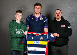 Sam Jeffries of Bristol Rugby poses with his sponsors during the Bristol Sport player sponsor evening - Rogan/JMP - 19/03/2018 - SPORT - Ashton Gate Stadium - Bristol, England - Big Sports Breakfast 2017.