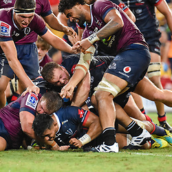 Rob Leota of Melbourne Rebels scores a try during the Super Rugby Round 7 match between Queensland Reds and Melbourne Rebels at Suncorp Stadium on March 30, 2019 in Brisbane, Queensland, Australia. (Photo by Stephen Tremain)