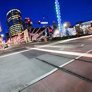 Downtown Kansas City traffic motion blur at Truman and Main St.