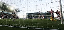 Hamilton's Alistair Crawford and Hamilton's Mickeal Antoine-Curier have their shot blocked by Falkirk's Will Vaulks.<br /> Falkirk 0 v 0 Hamilton, Scottish Championship game at The Falkirk Stadium. &copy; Michael Schofield 2014.