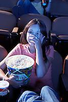 Woman Watching Horror Movie