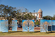 Outdoor public art at the train station in historic downtown Winter Park, Florida.