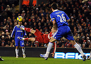 Fernando Torres of Liverpool attempts a bicycle kick during the Barclays Premier League match between Liverpool and Chelsea at Anfield on February 1, 2009 in Liverpool, England.
