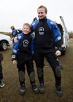 Feðgarnir Andri Snær og Hlynur Snær.