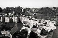 Sacks of charcoals ready to be sell next to the charcoals factory in Arra Village in Israel ..Monday April 5, 2008....