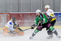 "Jure Stopar ""Jimmy"" in front of goal of Luka Simsic in Tomaz Vnuk's exhibition game between team HDD Tilia Olimpija and team 24 Ever on August 28, in Ljubljana, Slovenia. (Photo by Matic Klansek Velej / Sportida)"
