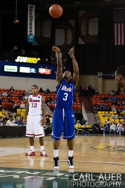 November 26th, 2010:  Anchorage, Alaska - Drake Bulldog junior guard Kurt Alexander (3) attempts a free throw in the Bulldog's loss to St. Johns at the Great Alaska Shootout.  The Red Storm defense held Drake to a tournament low score as St. Johns advanced to the final game 82-39.