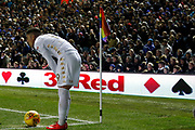 Pablo Hernández of Leeds United prepares to take a corner.  during the EFL Sky Bet Championship match between Leeds United and Aston Villa at Elland Road, Leeds, England on 1 December 2017. Photo by Paul Thompson. The corner flag has rainbow colours, as part of the Rainbow Laces campaign to promote equality for LGBT people in football.