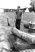 Dom carving wood at Glastonbury, 1989.