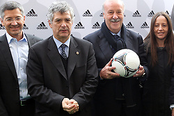 02.12.2012, Olymia Stadion, Kiev, UKR, Praesentation des neuen Adidasballes fuer die Euro 2012, im Bild ANGEL MARIA VILLAR, VICENTE DEL BOSQUE (P) // during the presentation of the neuw Adidas ball for Euro 2012 at Olypic stadium in Kiev, UKR on 2011/12/02. EXPA Pictures © 2011, PhotoCredit: EXPA/ Newspix/ Lukasz Grochala..***** ATTENTION - for AUT, SLO, CRO, SRB, SUI and SWE only *****