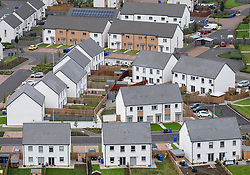 Elevated view of new houses in Raploch district of Stirling , Scotland, UK