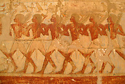 Relief showing  members of Queen Hatshepsut's trading expedition to the mysterious 'Land of Punt' from this pharaoh's elegant mortuary temple at Deir El-Bahri. Hatshepsut, 18th Dynasty, reigned 1503-1482 BC.