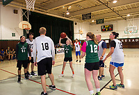 Ava Hosmer takes a shot to the basket for the Holy Trinity team as they take on the Laconia Police Dept team on Saturday morning.  (Karen Bobotas/for the Laconia Daily Sun)