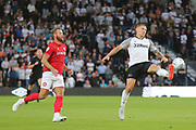 Derby County forward Martyn Waghorn (9) just fails to control the ball during the EFL Sky Bet Championship match between Derby County and Bristol City at the Pride Park, Derby, England on 20 August 2019.