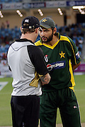 Brendon McCullum and Shahid during the first ICC Twenty20 (Twenty Twenty) match between Pakistan and New Zealand held at the Dubai International Cricket Stadium, Dubai, UAE, 12 November, 2009. Photo: SPORTDXB / PHOTOSPORT