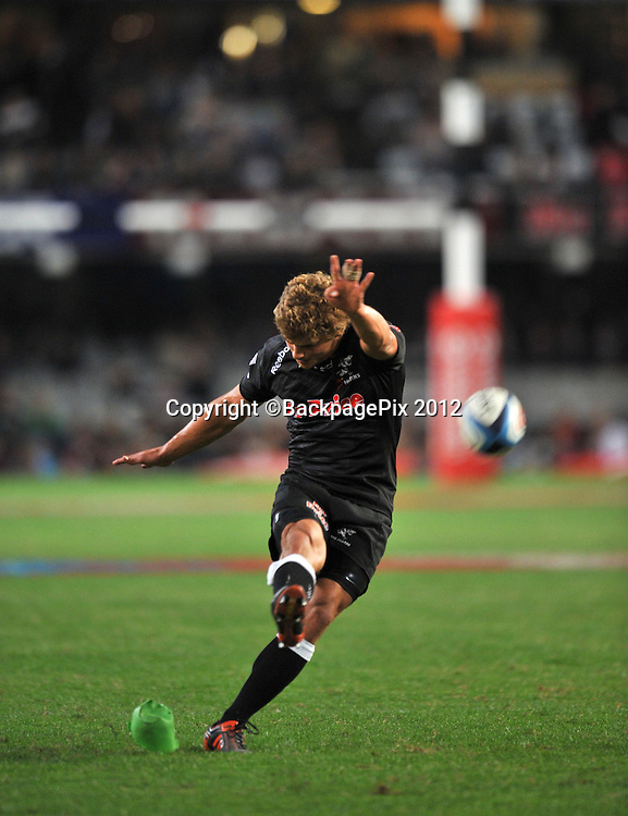 Patrick Lambie of the Sharks<br /> <br /> &copy; Sabelo Mngoma/BackpagePix