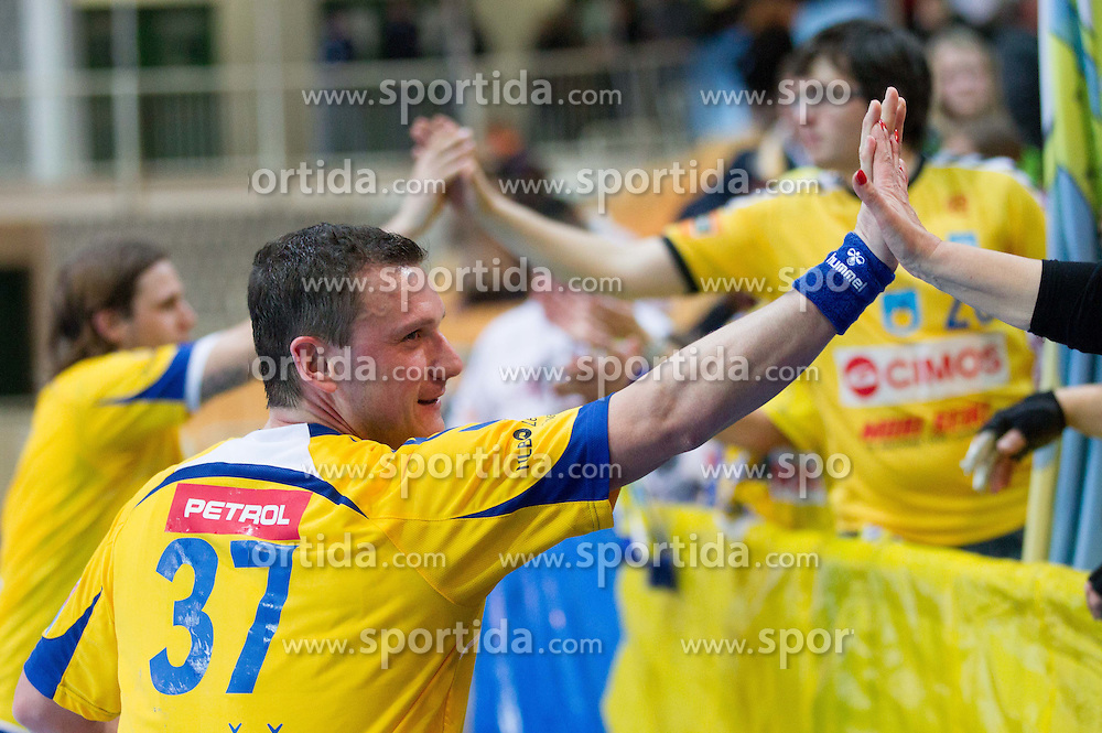 Zoran Jovicic of Cimos Koper after the handball match between RK Cimos Koper and HCM Constanta in 10th Round of season 2011/2012 of EHF Men's Champions League, on February 25, 2012 in Arena Bonifika, Koper, Slovenia. Cimos Koper defeated Constanta 28-24. (Photo By Vid Ponikvar / Sportida.com)