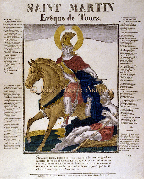 St Martin Bishop of Tours (c.316-c.400) Founded first monastery in France at Liguge near Poitiers c.360. Giving military cloak to a beggar. French 19th century coloured woodcut.