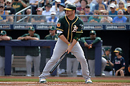 PEORIA, AZ - MARCH 05:  Stephen Vogt #21 of the Oakland Athletics stands at bat against the Seattle Mariners during the spring training game at Peoria Stadium on March 5, 2017 in Peoria, Arizona.  (Photo by Jennifer Stewart/Getty Images)