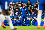 frustrated, Chelsea manager Antonio Conte during the Premier League match between Chelsea and West Ham United at Stamford Bridge, London, England on 8 April 2018. Picture by Sebastian Frej.
