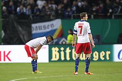 13.02.2014, Imtech Arena, Hamburg, GER, DFB Pokal, Hamburger SV vs FC Bayern Muenchen, Viertel Finale, im Bild l-r: Tomas RINCON #8 (Hamburger SV), Marcell JANSEN #7 (Hamburger SV) // during the German DFP Pokal Quaterfinal match between Hamburger SV and Fc Bayern Munich at the Imtech Arena in Hamburg, Germany on 2014/02/13. EXPA Pictures © 2014, PhotoCredit: EXPA/ Eibner-Pressefoto/ Kolbert<br /> <br /> *****ATTENTION - OUT of GER*****