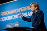15 OCT 2010, BERLIN/GERMANY:<br /> Angela Merkel, CDU Bundesvorsitzende, haelt eine Rede, Regionalkonferenz der CDU fuer die Landesverbaende Berlin und Brandenburg, Palais am Funkturm<br /> IMAGE: 20101015-01-033