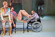 © Tony Nandi. 03/05/2014. Made up of disabled and non-disabled dancers, Stopgap Dance Company performs the London premiere of its latest work Artificial Things, following a critically acclaimed UK and European tour. Lillian Baylis Studio, Sadler's Wells Theatre, London. Picture features Chris Pavia, Amy Butler & David Toole.