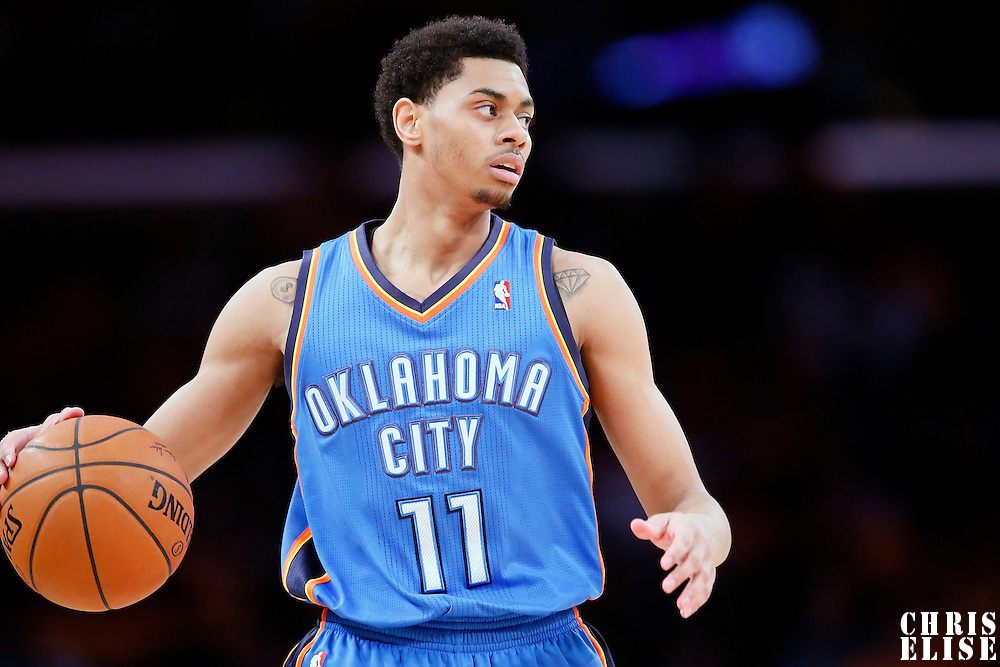 09 March 2014: Oklahoma City Thunder shooting guard Jeremy Lamb (11) brings the ball up court during the Los Angeles Lakers 114-110 victory over the Oklahoma City Thunder at the Staples Center, Los Angeles, California, USA.