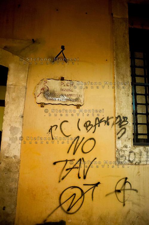 Roma 20 Novembre 2013<br /> No Tav proteste a Roma durante il summit Letta-Hollande.  Deturpata e vandalizzato la sezione storica del PD (Partito Democratico) in via Giubbonari.<br /> Rome  20 Novembre 2013<br /> No TAV protests in Rome during the summit Letta-Hollande, in Rome. Defaced and vandalized the historic section of the PD (Democratic Party) in Giubbonari street.