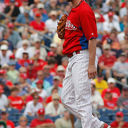March 1, 2011; Clearwater, FL, USA; Philadelphia Phillies starting pitcher Cliff Lee (33) during a spring training exhibition game against the Detroit Tigers at Bright House Networks Field  Mandatory Credit: Derick E. Hingle