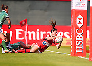 Canada player Natasha Watcham-Roy scores a try  during the Emirates Dubai rugby sevens match between Canada  and Brazil  at the Sevens Stadium, Al Ain Road, United Arab Emirates on 1 December 2016. Photo by Ian  Muir.*** during the Emirates Dubai rugby sevens match between *** and ***  at the Sevens Stadium, Al Ain Road, United Arab Emirates on 1 December 2016. Photo by Ian  Muir.