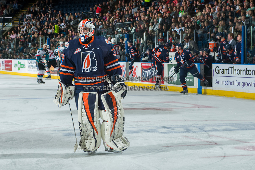 KELOWNA, CANADA - MARCH 31: Connor Ingram #39 of the Kamloops Blazers skates to the net after a penalty call against the Kelowna Rockets on March 31, 2017 at Prospera Place in Kelowna, British Columbia, Canada.  (Photo by Marissa Baecker/Shoot the Breeze)  *** Local Caption ***