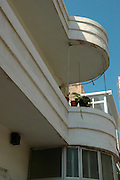 Israel Tel Aviv details of a Bauhaus Building January 2007
