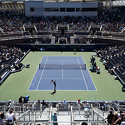 August 30, 2017 - New York, NY : Grigor Dimitrov, in blue, competes against Vaclav Safranek, in yellow, in the Grandstand on the third day of the U.S. Open, at the USTA Billie Jean King National Tennis Center in Queens, New York, on Wednesday. <br /> CREDIT : Karsten Moran for The New York Times
