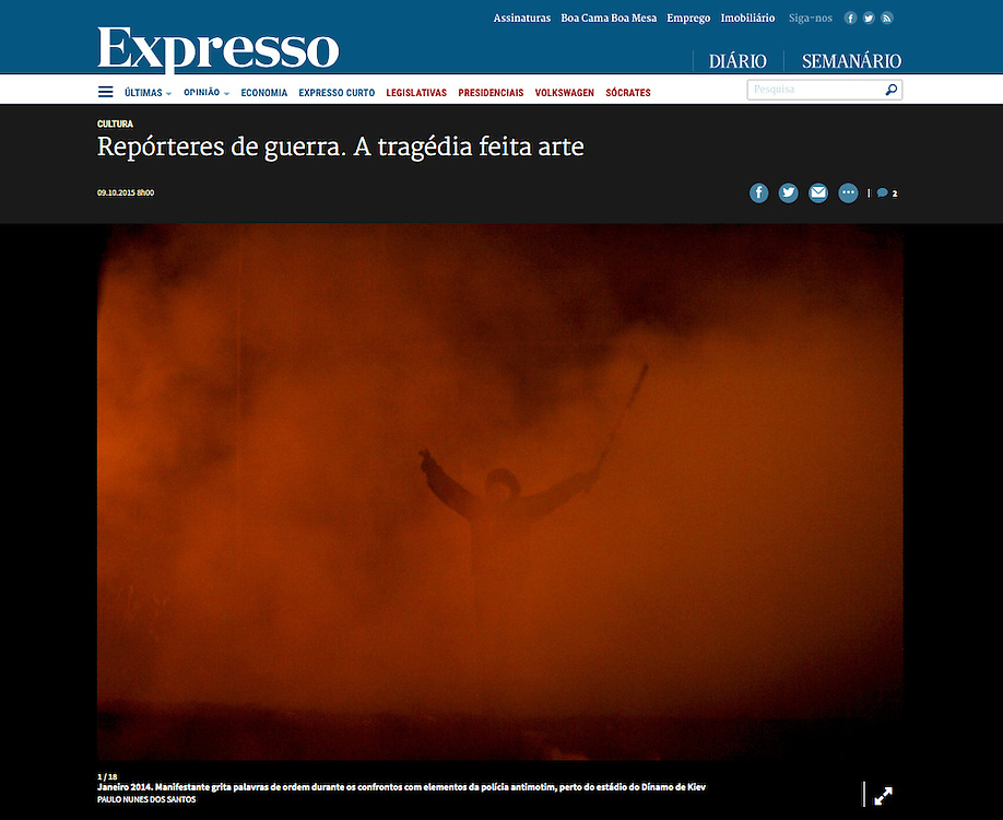 "Screengrab of ""War reporters"" published in Expresso"
