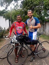 © Licensed to London News Pictures. 29/07/2013. Ambalangoda, Sri Lanka. James Ketchell meets up with a local enthusiast - a Sri Lanka  ex-military officer. The previous parts of this incredible and unique series were an Atlantic solo row in 2010 and summiting Everest in 2011.Photo credit : James Ketchell/LNP