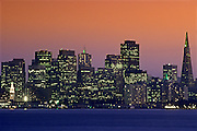 Image of the San Francisco skyline at dusk, San Francisco, California, America west coast