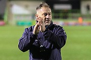 Forest Green Rovers assistant manager, Scott Lindsey applauds the fans at the end of the match during the EFL Sky Bet League 2 match between Forest Green Rovers and Crewe Alexandra at the New Lawn, Forest Green, United Kingdom on 22 December 2018.