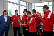 Sopot, Poland - 2018 April 06: (L-R) trainer coach Rafal Chrzanowski and Daniel Michalski and Kamil Majchrzak and Radoslaw Szymanik - captain national team and Marcin Matkowski and Lukasz Kubot all from Poland while Meet & Greet event one day before Poland v Zimbabwe Tie Group 2, Europe/Africa Second Round of Davis Cup by BNP Paribas at 100 years of Sopot Hall on April 06, 2018 in Sopot, Poland.<br /> <br /> Mandatory credit:<br /> Photo by © Adam Nurkiewicz / Mediasport<br /> <br /> Adam Nurkiewicz declares that he has no rights to the image of people at the photographs of his authorship.<br /> <br /> Picture also available in RAW (NEF) or TIFF format on special request.<br /> <br /> Any editorial, commercial or promotional use requires written permission from the author of image.