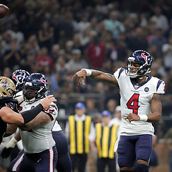 Sep 9, 2019; New Orleans, LA, USA; Houston Texans quarterback Deshaun Watson (4) throws for a touchdown against the New Orleans Saints during the second quarter at the Mercedes-Benz Superdome. Mandatory Credit: Derick E. Hingle-USA TODAY Sports