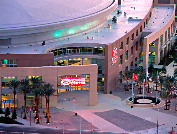Stock photo of an aerial evening view of the Toyota Center, home of the Houston Comets and Houston Rockets