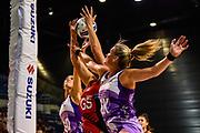 Leana De Bruin of the Stars blocks a pass to Ellie Bird of the Tactix during the ANZ Premiership Netball match, Tactix v Stars, Horncastle Arena, Christchurch, New Zealand, 23rd April 2019.Copyright photo: John Davidson / www.photosport.nz