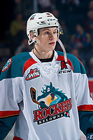 KELOWNA, CANADA - FEBRUARY 6:  Kaedan Korczak #6 of the Kelowna Rockets lines up against the Spokane Chiefs on February 6, 2019 at Prospera Place in Kelowna, British Columbia, Canada.  (Photo by Marissa Baecker/Shoot the Breeze)